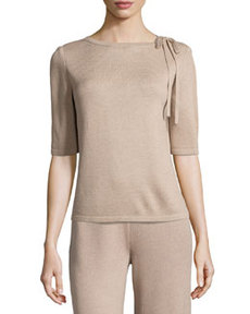 St. John Tie-Neck Knit Sweater, Bisque