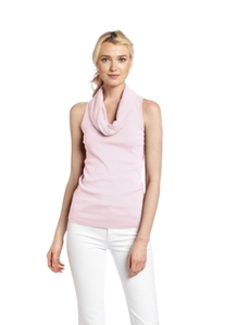 Three Dots Women's Sleeveless Rolled Cowl Neck Shirt