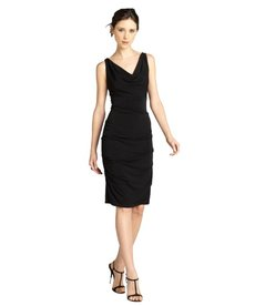 Nicole Miller black sleeveless pebble crepe drape front dress