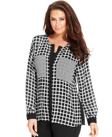 MICHAEL Michael Kors Plus Size Long-Sleeve Check-Print Blouse