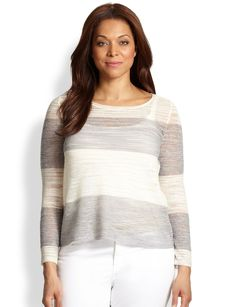 Eileen Fisher, Sizes 14-24 Striped Boatneck Top