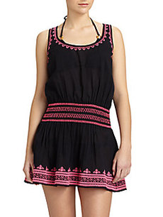 Shoshanna Embroidered Cotton Tank Dress