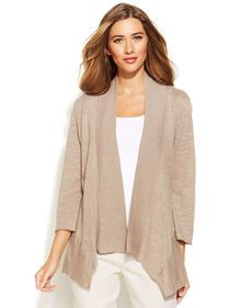 Alfani Petite Linen-Cotton-Blend Draped Cardigan