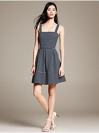Mixed-Stripe Pleated Fit-and-Flare Dress