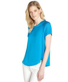 Rebecca Taylor azul blue lasercut short sleeve top