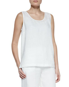 Go Silk Linen Scoop-Neck Tank, Women's
