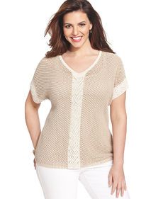 Jones New York Collection Plus Size Short-Sleeve Colorblocked Sweater