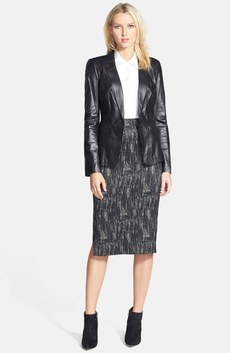 Lafayette 148 New York Leather Jacket, Silk Blouse & Skirt