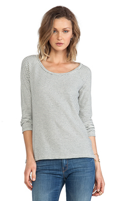 James Perse Mini Stripe Raglan Pullover in Gray