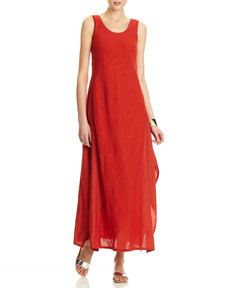 Lafayette 148 New York Angie Linen Gauze Sleeveless Long Dress, Persimmon