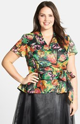 Alex Evenings Floral Print Organza Side Tie Blouse (Plus Size)