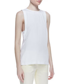 Sleeveless Round-Neck Blouse   Sleeveless Round-Neck Blouse