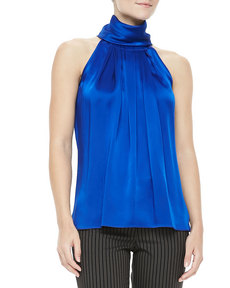 Michael Kors Sleeveless Charmeuse Turtleneck, Sapphire