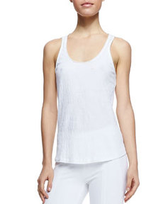 Puckered Cotton Blend Tank   Puckered Cotton Blend Tank