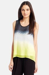 Kenneth Cole New York Print Split Back Sleeveless Blouse (Regular & Petite)