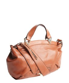 Kooba sienna brown leather 'Leonard' foldover top handle bag