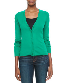 Michael Kors Ribbed Cashmere Cardigan, Emerald