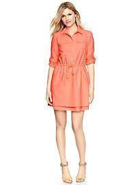 Roll-sleeve pocket shirtdress