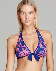 Tommy Bahama Sugar Shack Reversible Halter Bikini Top