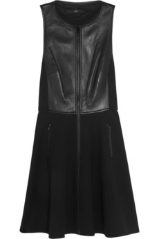 Tibi Leather-paneled ponte dress