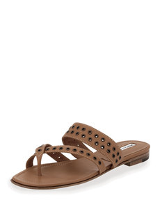 Manolo Blahnik Susaocc Leather Grommet Flat Thong Sandal, Tan