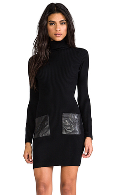 MILLY Milly Knit Slim Rib Leather Pocket Dress in Black