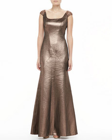Kay Unger New York Metallic Scoop-Neck Flare Gown