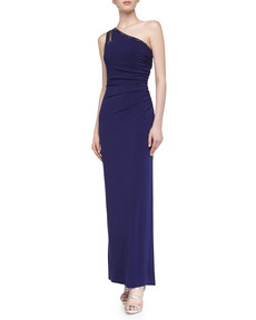 Laundry by Shelli Segal One-Shoulder Jersey Gown, Moody Blue