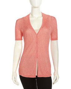 Lafayette 148 New York Short-Sleeve Pastel Ribbed-Knit Cardigan, Salmon