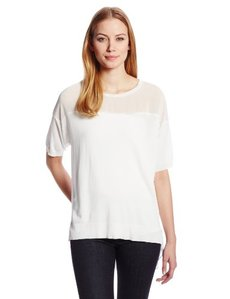 Calvin Klein Women's Short-Sleeve Mixed-Media Pullover Shirt
