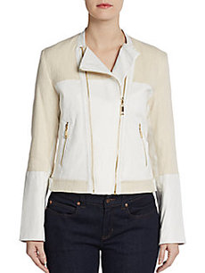 Ellen Tracy Mixed-Media Biker Jacket
