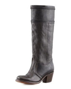 Frye Jane Leather Extended Calf Boot, Black