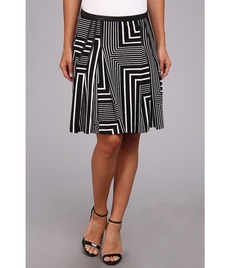 Calvin Klein Printed Pleat Skirt w/ PU