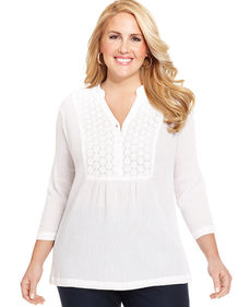 Charter Club Plus Size Three-Quarter-Sleeve Crochet Blouse