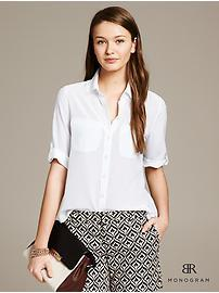 BR Monogram White Silk Safari Blouse
