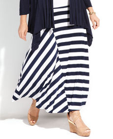 INC International Concepts Plus Size Striped Maxi Skirt