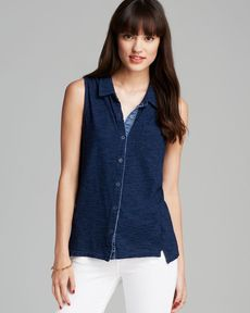 Splendid Top - Dark Denim Button Down