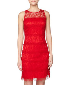 Kay Unger New York Illusion Lace Cocktail Dress, Red