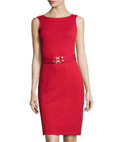 St. John Belted Knit Tank Dress, Ruby