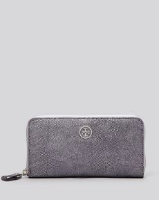 Tory Burch Wallet - Exclusive Brittany Embossed Metallic Zip Continental