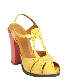 Fendi sunflower yellow and coral perforated leather heel sandals