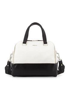 Furla Amalfi Colorblock Medium Dome Bag, Onyx/White