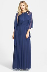 Alex Evenings Embellished Mesh Gown & Shawl