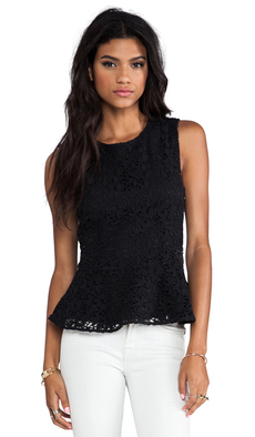 Joie Heavy Cotton Lace Shian Tank in Black