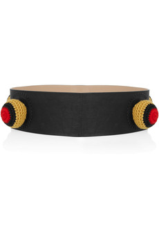 M Missoni Pompom-appliquéd leather belt