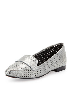 Donald J Pliner Perforated Metallic Leather Loafer, Pewter
