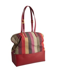 Fendi red striped canvas and leather '2bag' colorblock tote