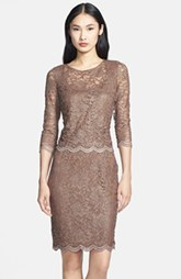Alex Evenings Mock Two-Piece Lace Sheath Dress (Petite) (Petite)