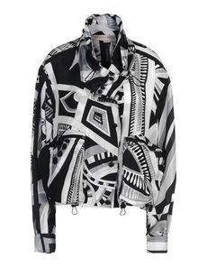 EMILIO PUCCI Drawstring closure Logo  Crêpe Designer's motif Turtleneck Buttoned cuffs External zip pockets Snap button closure Zip Unlined Long sleeves Front closure Crêpe Woven not made of fur Long sleeves