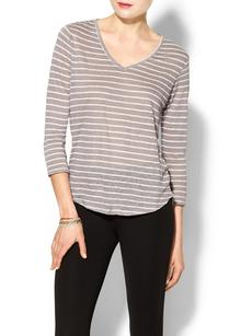 C&C California Oceanic Linen Stripe Jersey High Low Tee